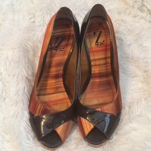 Sergio Zelcer Patent and Satin Pumps